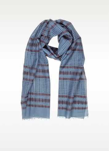 Batik Print Cotton Blend Men's Long Scarf w/Fringes - Lanvin