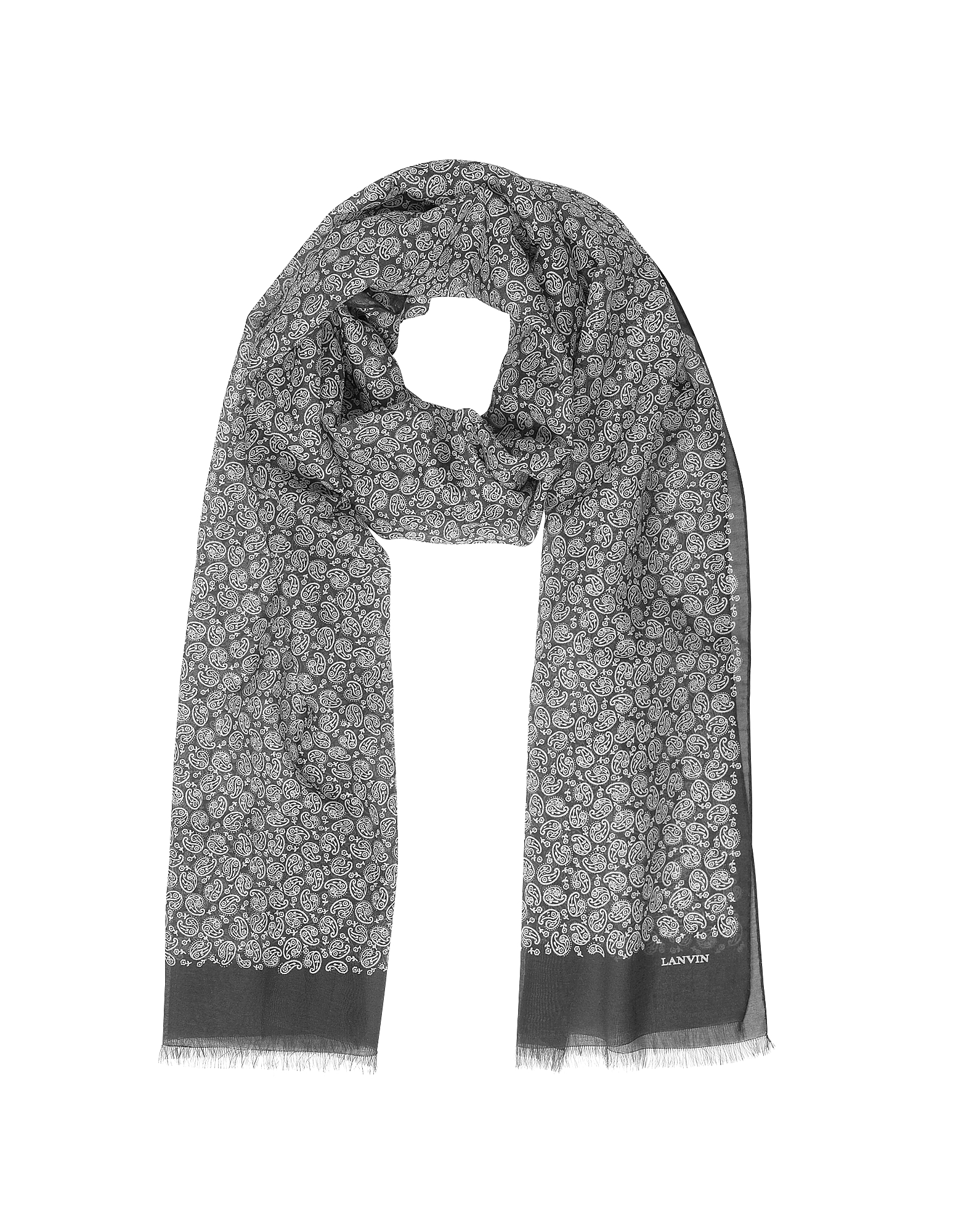 Paisley Print Cotton Blend Men's Long Scarf w/Fringes от Forzieri.com INT