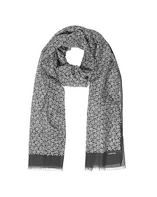 Paisley Print Cotton Blend Men's Long Scarf w/Fringes - Lanvin