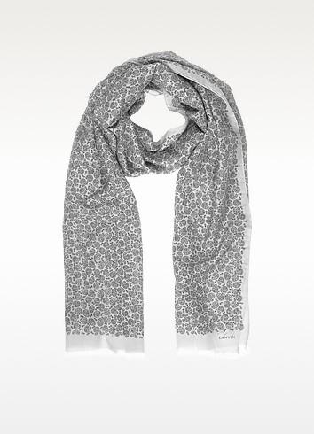 Paisley Print Cotton Blend Men's Long Scarf w/Fringes - Lanvin