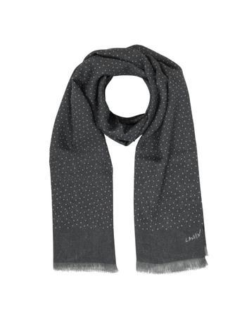Lux-ID 317806 Gray & White Polkadot Print Wool Men's Scarf