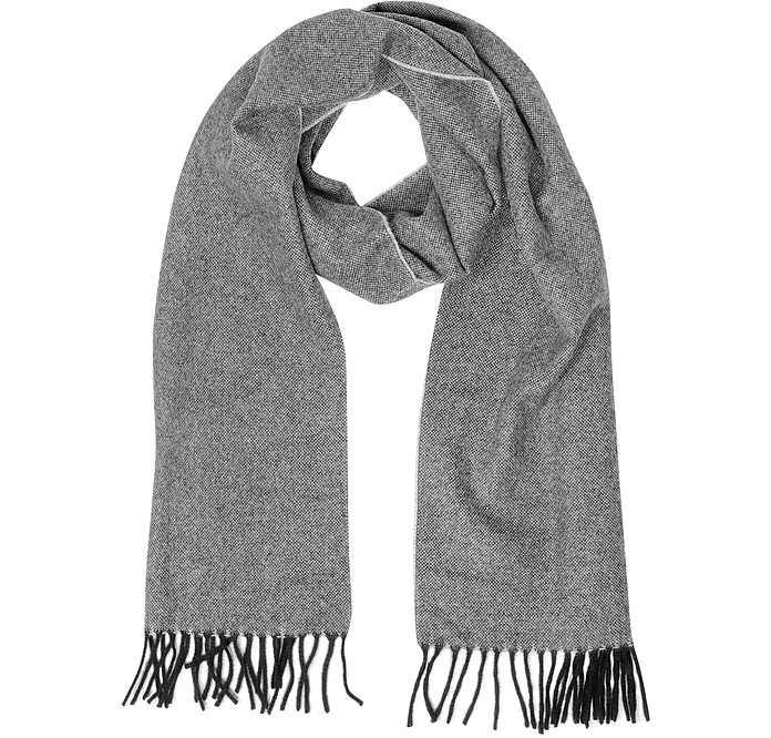Two Tone Pure Cashmere Men's Scarf w/Fringes - Lanvin