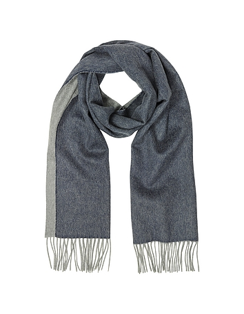 Lanvin - Blue and Gray Reversible Pure Cashmere Men's Scarf