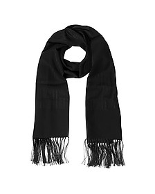 Solid Silk Fringed Men's Long Scarf
