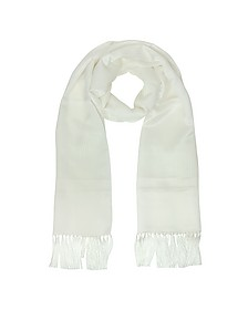 Solid Silk Fringed Men's Long Scarf - Lanvin