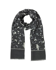 Black & Gray Wool and Silk Men's Scarf - Lanvin