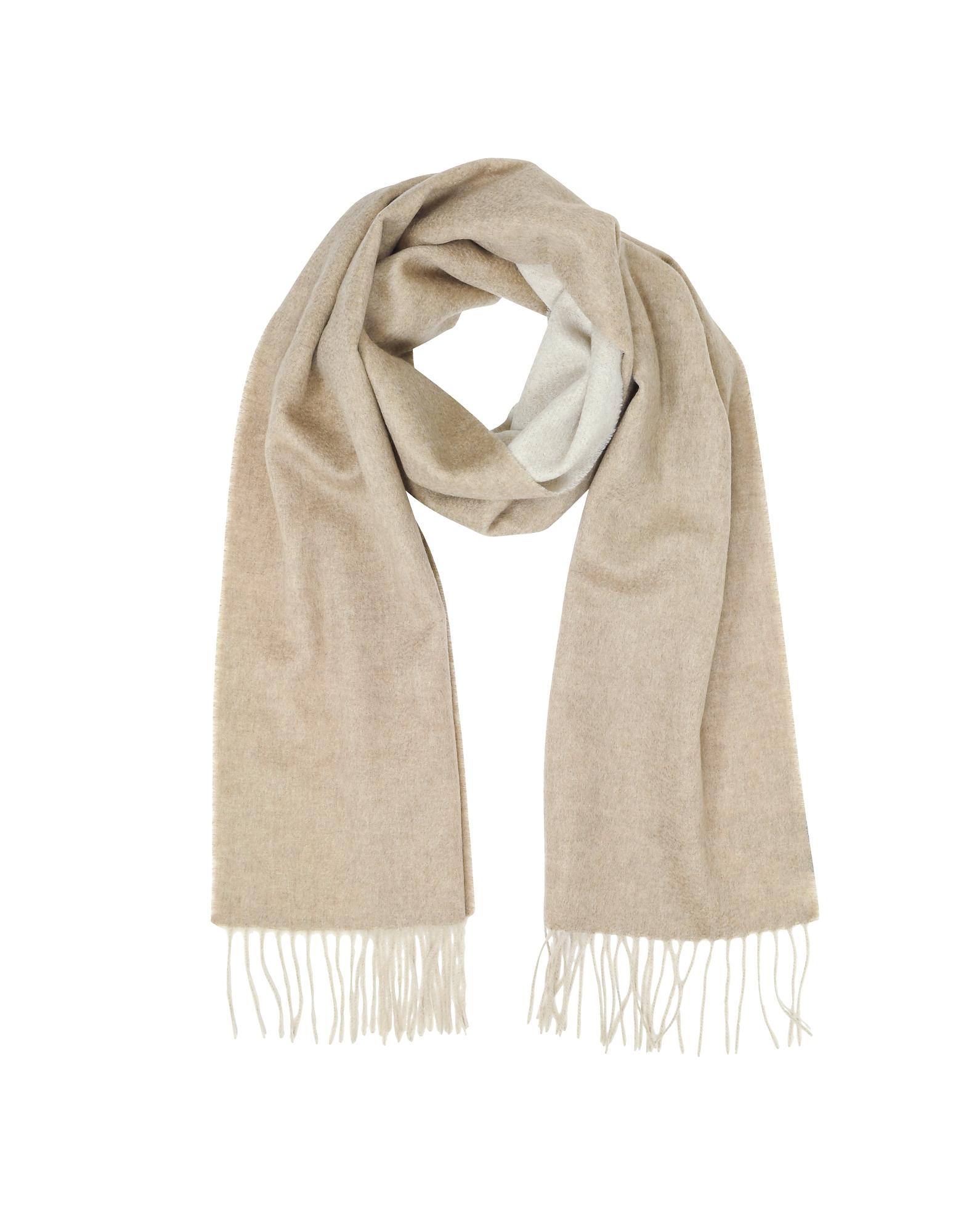 Beige Pure Cashmere Long Scarf w/Fringes