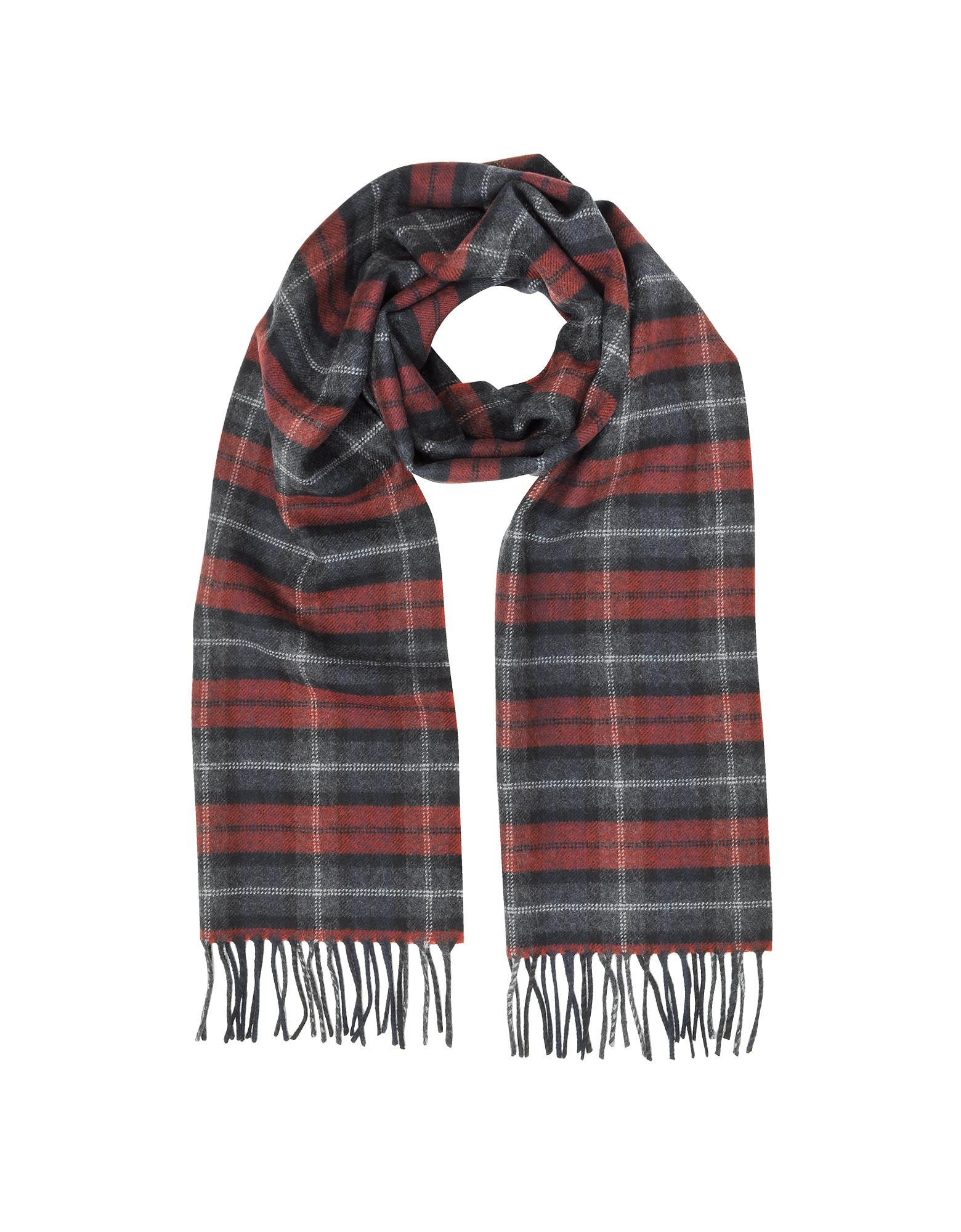 Lanvin Men's Scarves, Tartan Solid Wool Fringed Scarf