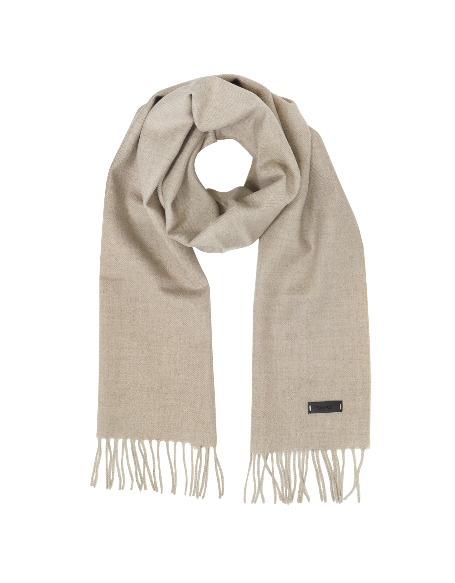 Solid Wool Long Scarf w/Fringes