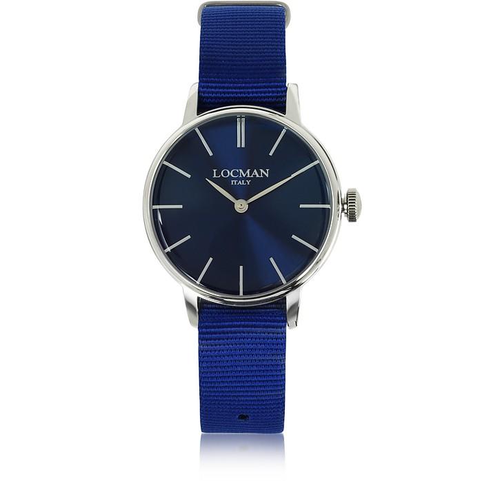 1960 Silver Stainless Steel Women's Watch w/Blue Canvas Strap - Locman