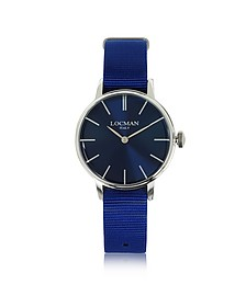 1960 Silver Stainless Steel Women's Watch w/Blue Canvas Strap - Locman