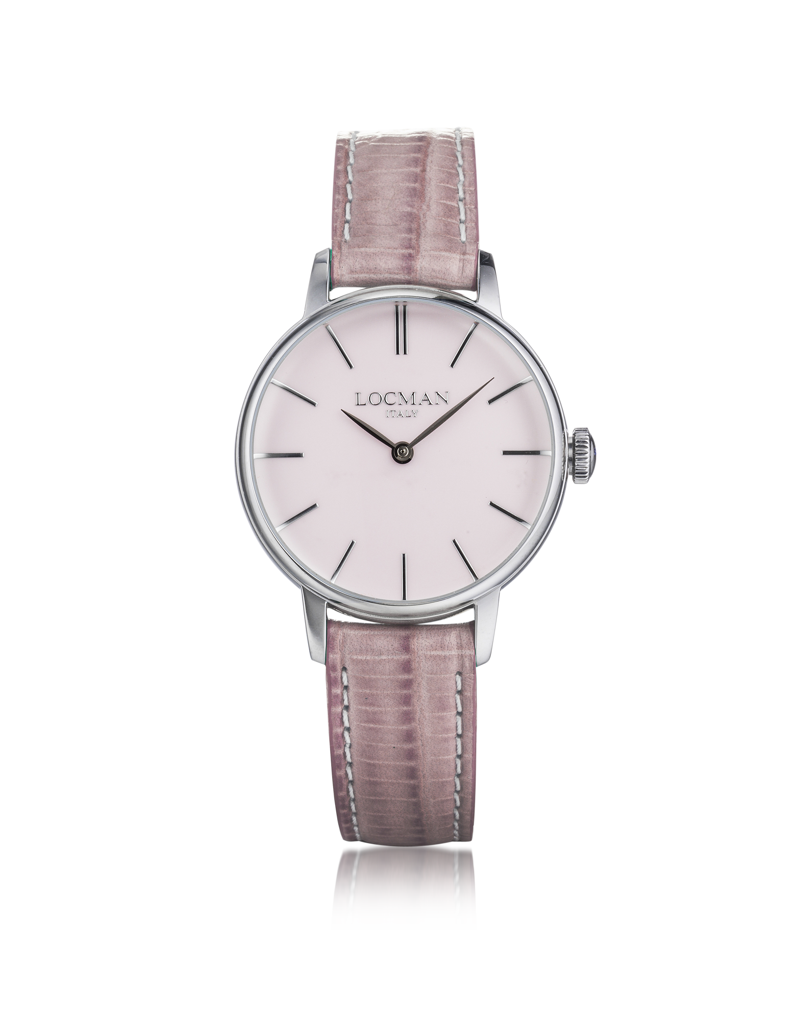 Image of 1960 Silver Stainless Steel Women's Watch w/Pink Croco Embossed Leather Strap