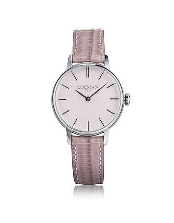 Locman - 1960 Silver Stainless Steel Women's Watch w/Pink Croco Embossed Leather Strap