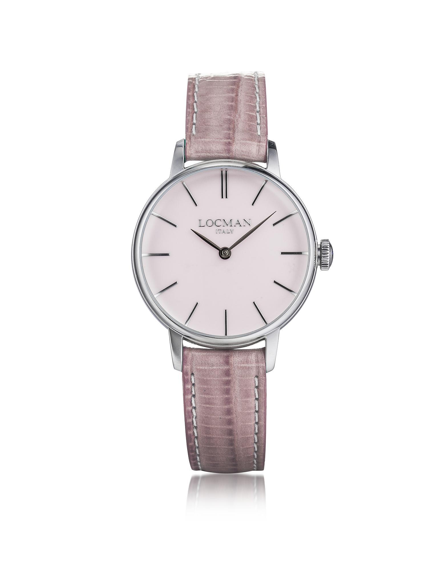 1960 - Серебристые Женские Часы из Нержавеющей Стали с Розовым Ремешком  из Кожи под Крокодиловую