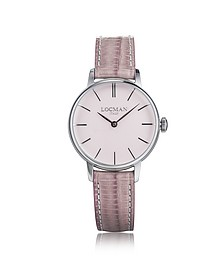 1960 Silver Stainless Steel Women's Watch w/Pink Croco Embossed Leather Strap - Locman