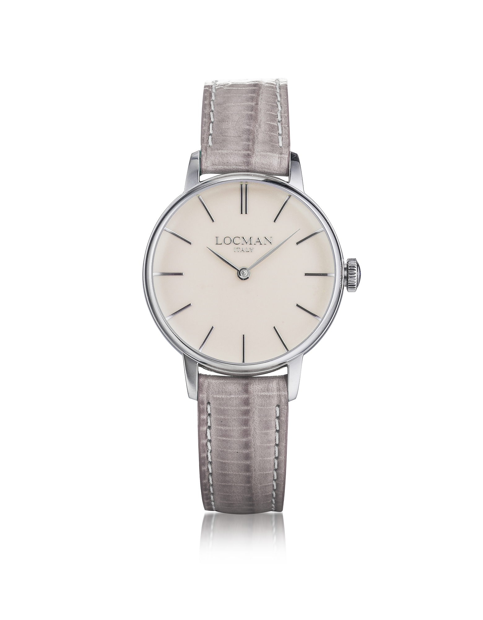 Locman Designer Women's Watches, 1960 Silver Stainless Steel Women's Watch w/Light Purple Croco Embo