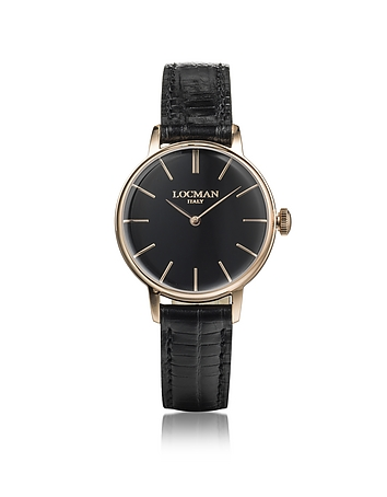 Locman - 1960 Rose Gold PVD Stainless Steel Women's Watch w/Black Croco Embossed Leather Strap