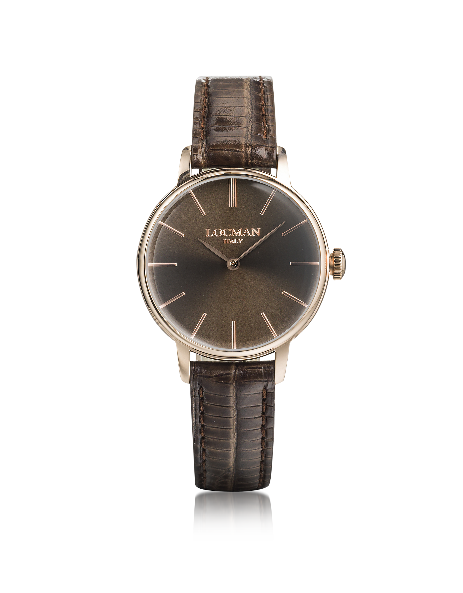 Image of 1960 Rose Gold PVD Stainless Steel Women's Watch w/Brown Croco Embossed Leather Strap