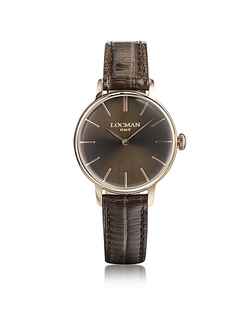 Locman - 1960 Rose Gold PVD Stainless Steel Women's Watch w/Brown Croco Embossed Leather Strap