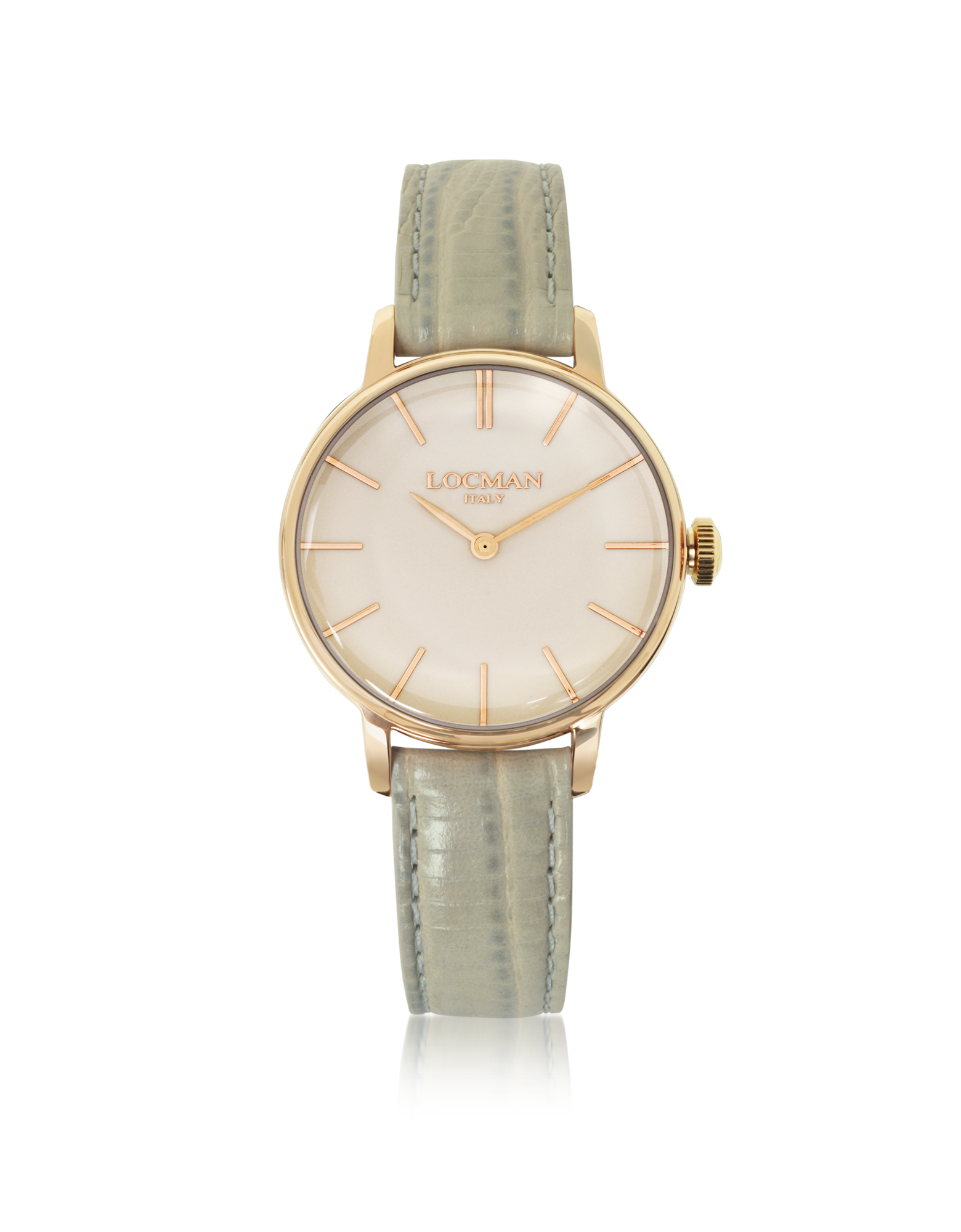 Image of 1960 Rose Gold PVD Stainless Steel Women's Watch w/Light Grey Python Embossed Leather Strap