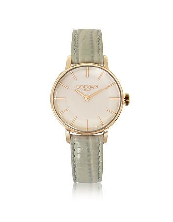 Locman - 1960 Rose Gold PVD Stainless Steel Women's Watch w/Light Grey Python Embossed Leather Strap