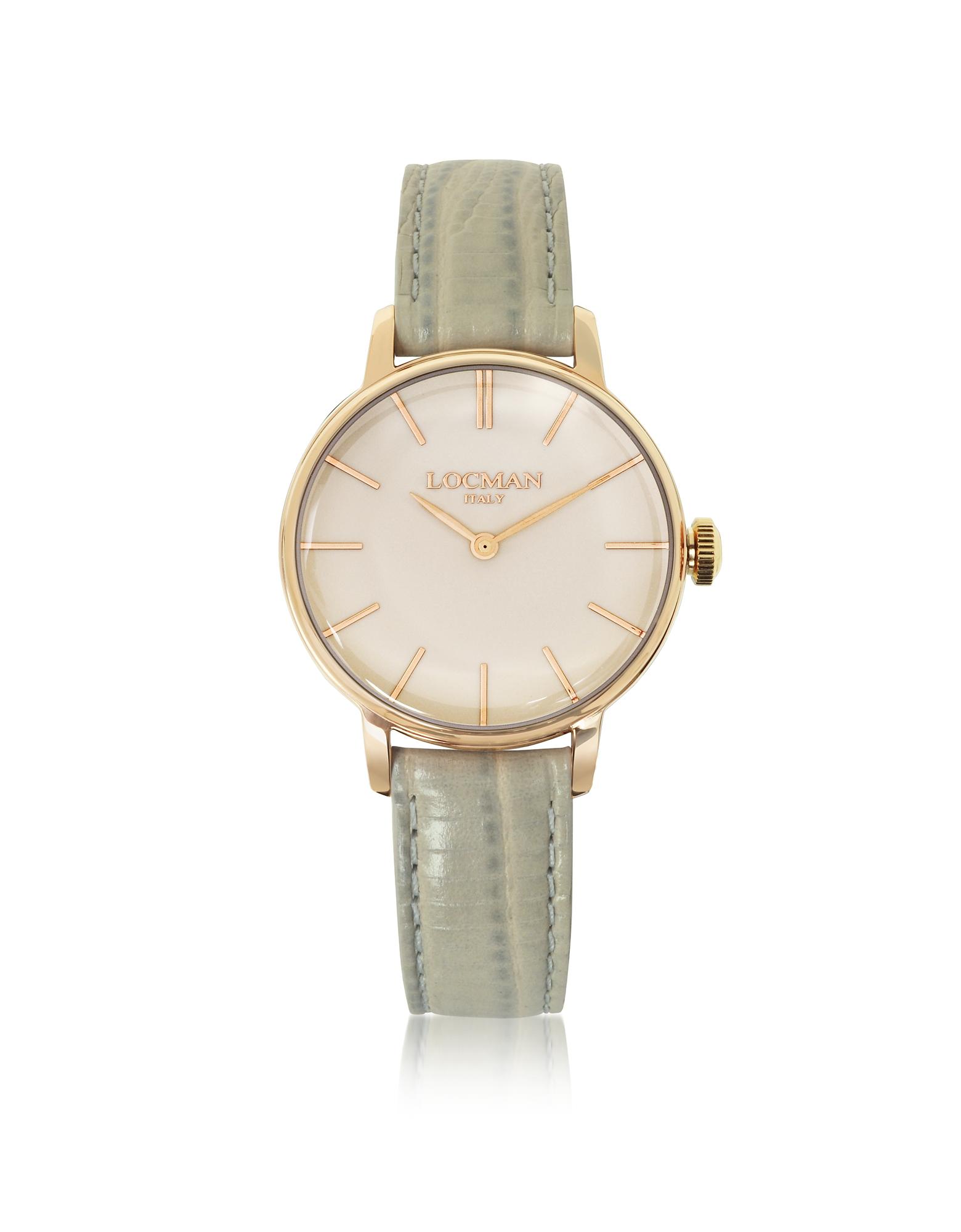 1960 - Женские Часы из Нержавеющей Стали с Напылением Розового Золота на Светло-сером Ремешке из Кожи под Крокодиловую