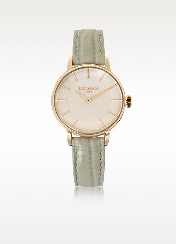 1960 Rose Gold PVD Stainless Steel Women's Watch w/Light Grey Python Embossed Leather Strap - Locman