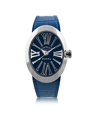 Locman - Change Blue Stainless Steel Oval Case Women's Watch w/3 Leather Straps
