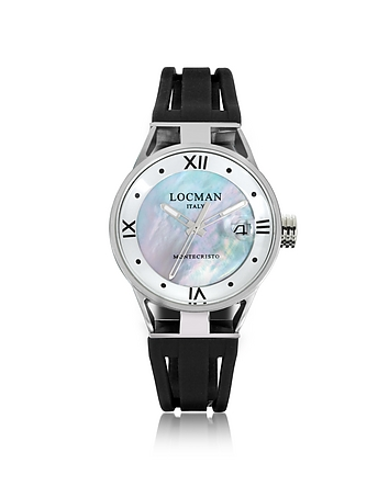 Locman - Montecristo Stainless Steel and Titanium Mother of Pearl w/Silicone Strap Women's Watch