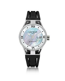Montecristo Stainless Steel and Titanium Mother of Pearl w/Silicone Strap Women's Watch - Locman