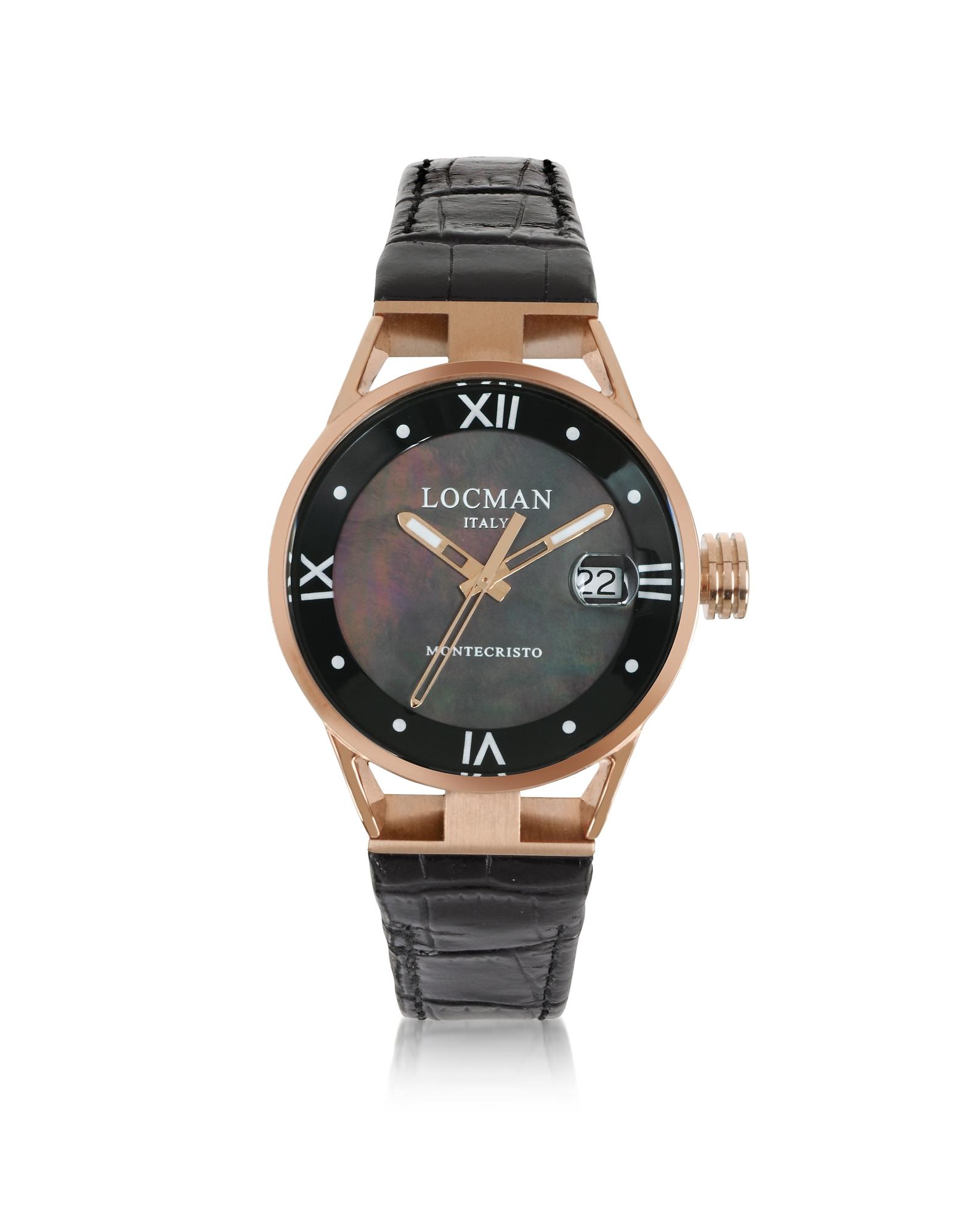 Locman Women's Watches, Montecristo Stainless Steel and Titanium Rose Gold PVD Women's Watch w/Croco