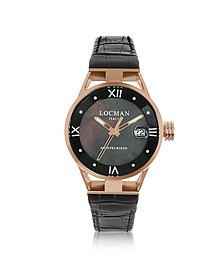 Montecristo Stainless Steel and Titanium Rose Gold PVD Women's Watch w/Croco Embossed Leather Strap - Locman