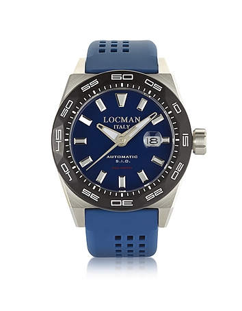 Locman - Stealth 300 mt Analog Display Automatic Self Wind Blue Stainless Steel Titanium and Silicon