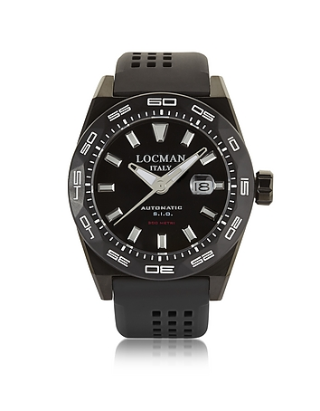 Locman - Stealth 300 mt Analog Display Automatic Self Wind Black PVD Stainless Steel Titanium and Si