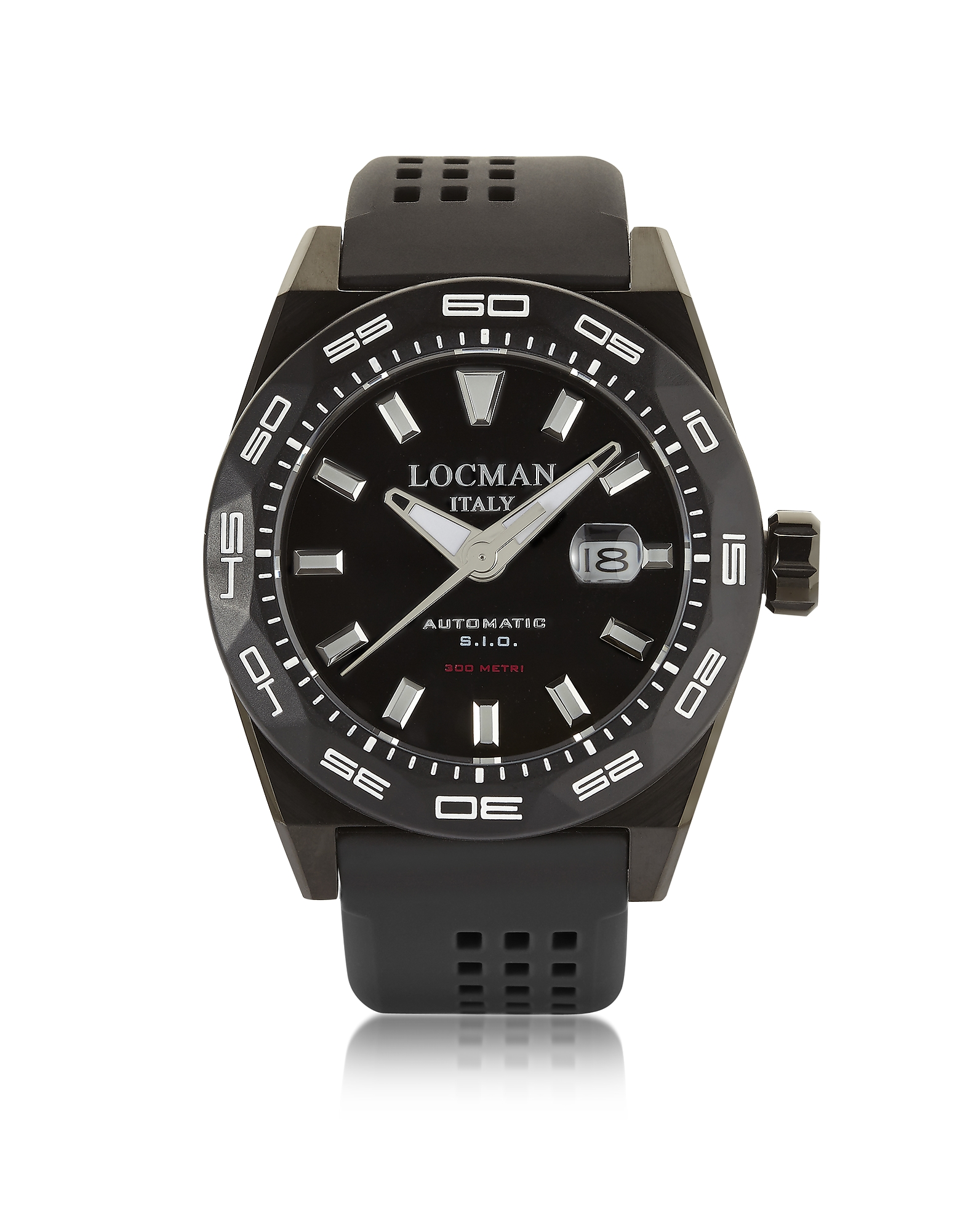 Locman Men's Watches, Stealth 300 mt Analog Display Automatic Self Wind Black PVD Stainless Steel, T