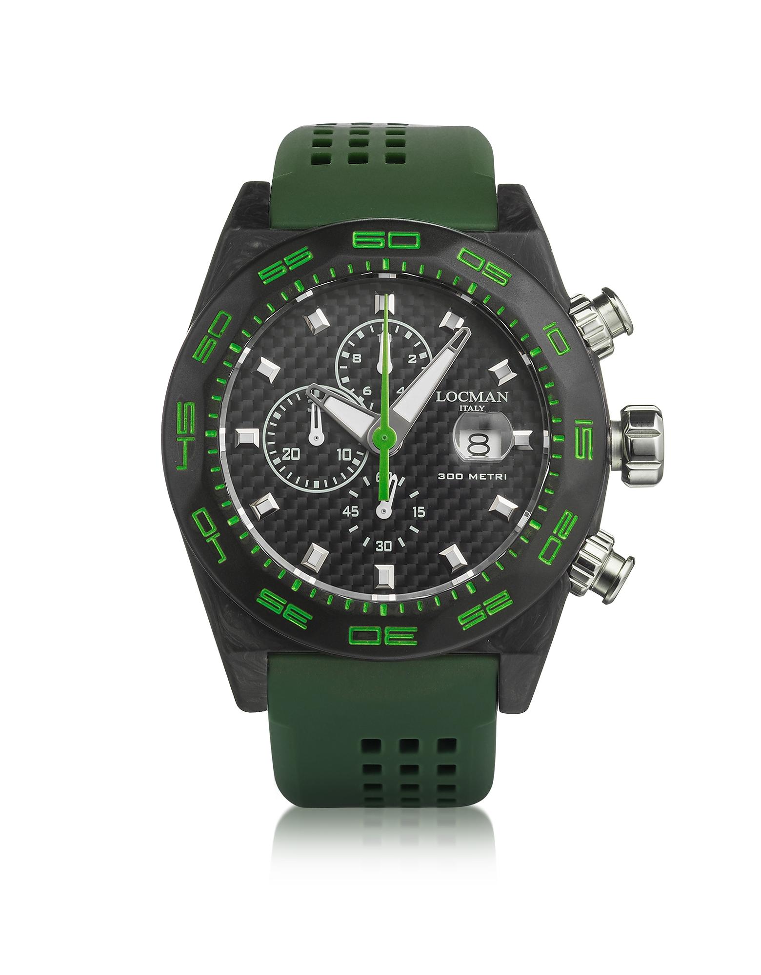 Locman Men's Watches, Stealth 300mt Green Carbon Fiber and Titanium Quartz Movement Men's Chronograp