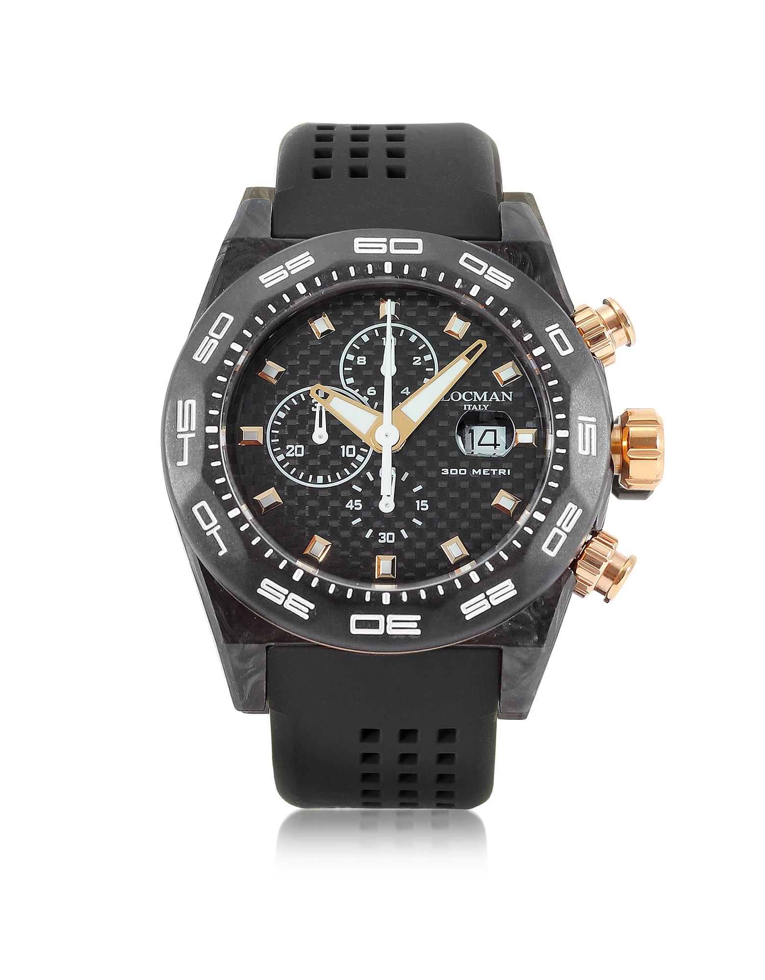 Stealth 300mt - Черные Мужские Часы Хронограф из Углеродного Волокна и Титана с Кварцевым Механизмом