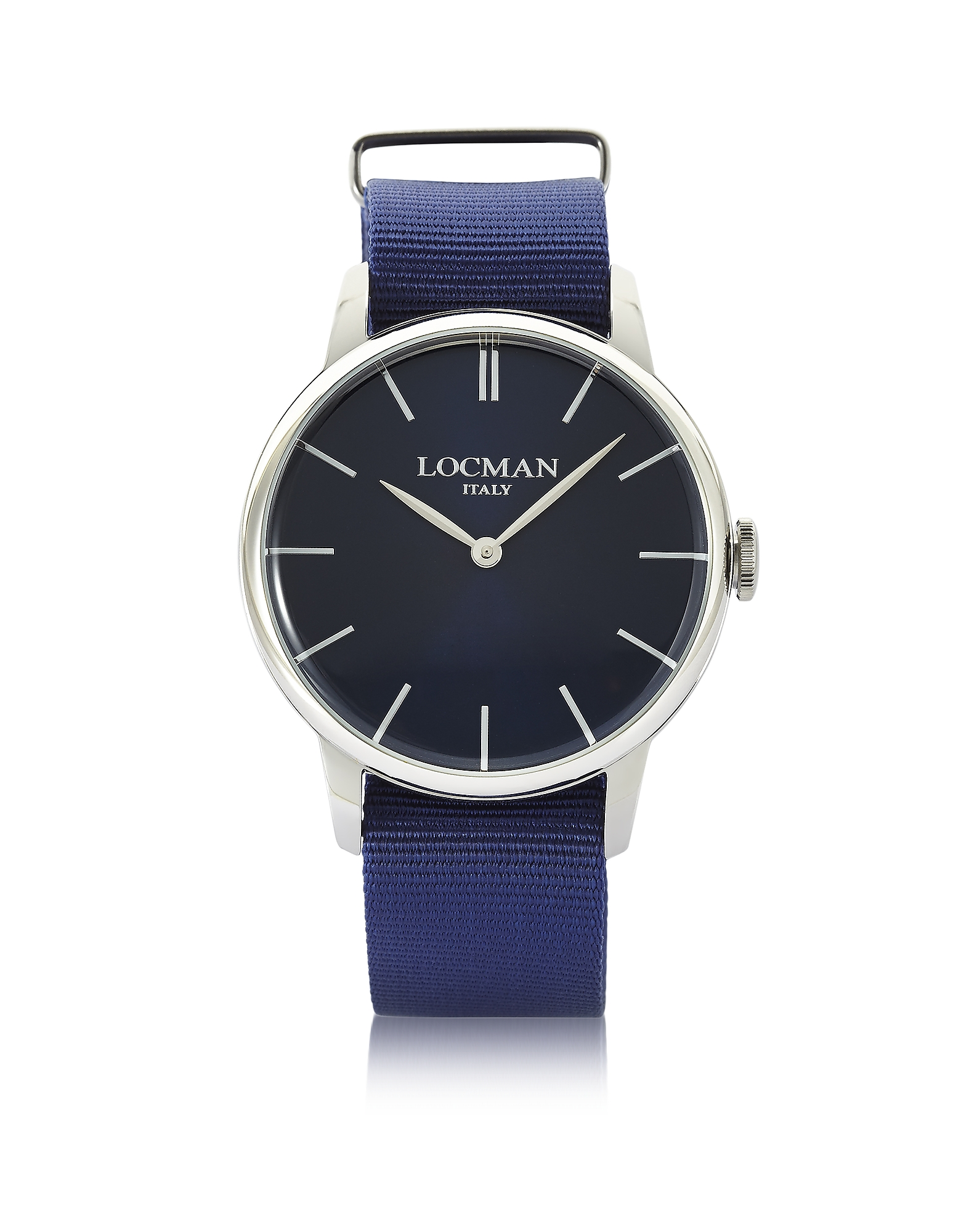 Locman Men's Watches, 1960 Stainless Steel Men's Watch w/Blue Canvas Strap