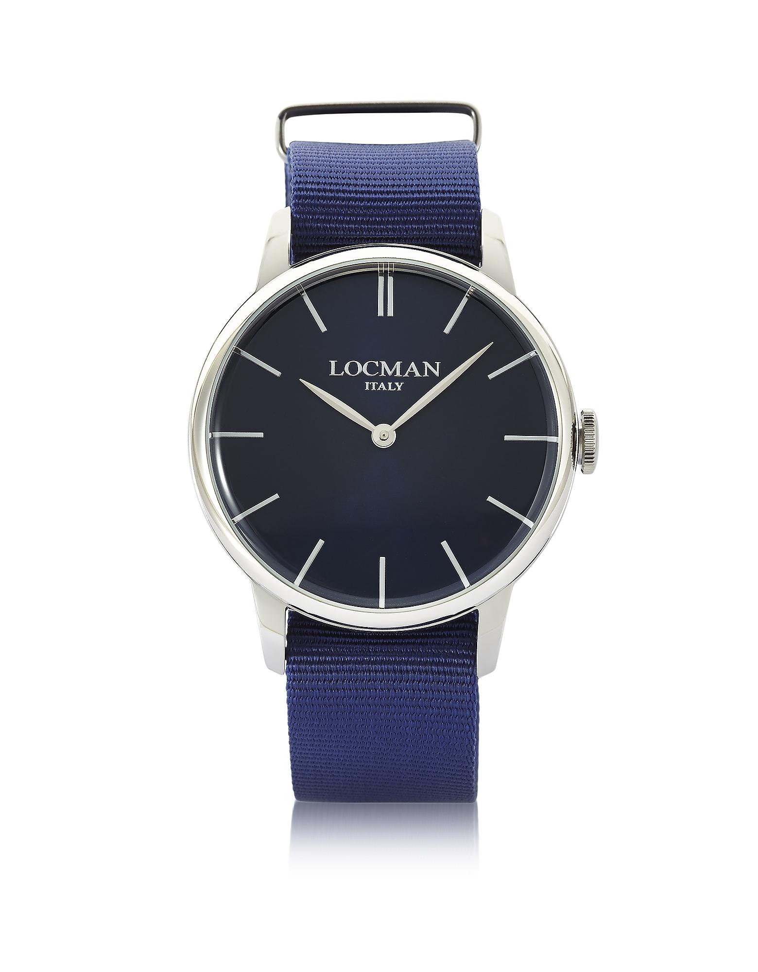 1960 - Мужские Часы из Нержавеющей Стали с Синим Ремешком из Ткани