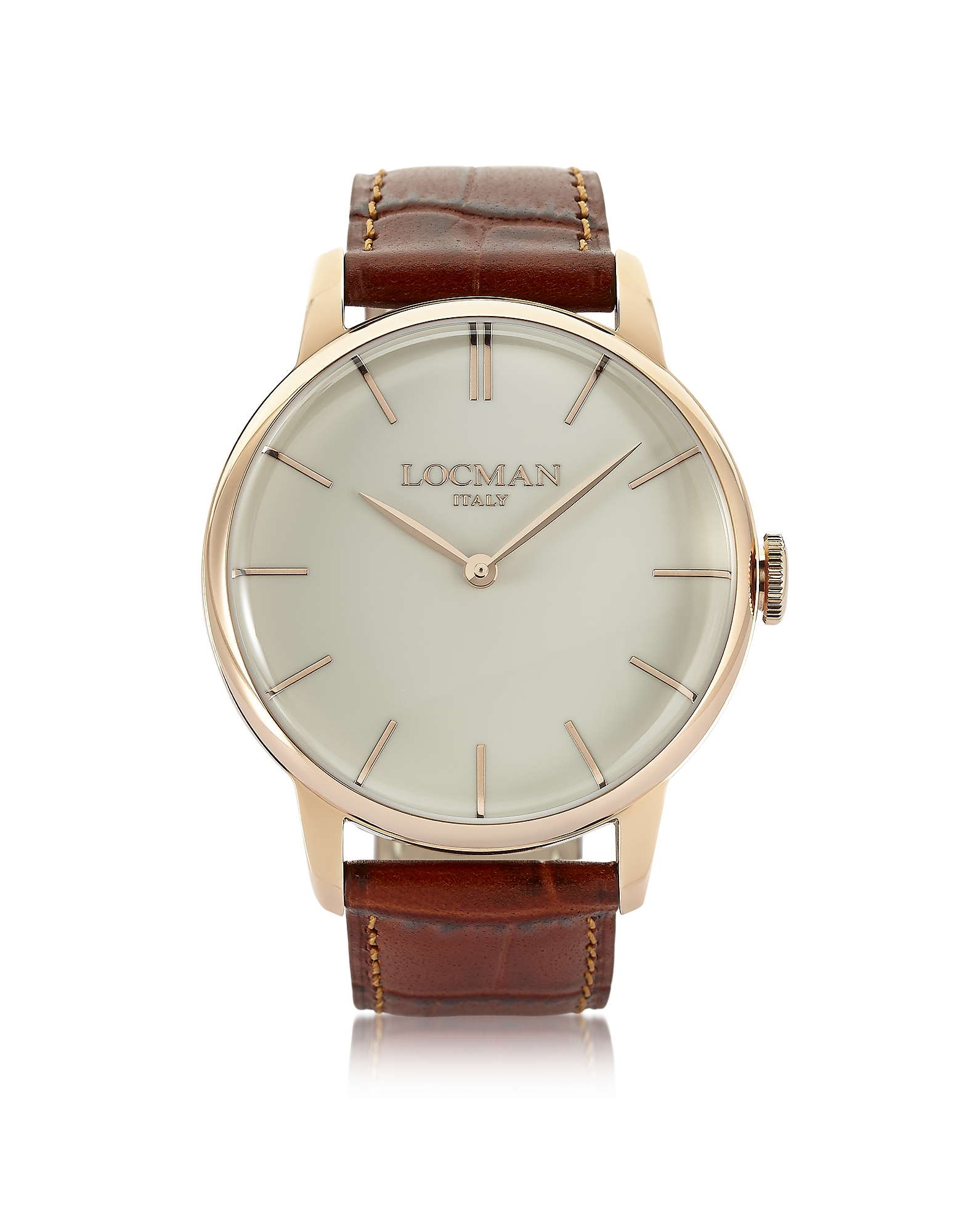 Locman Men's Watches, 1960 Rose Gold PVD Stainlees Steel Men's Watch w/Brown Croco Leather Strap
