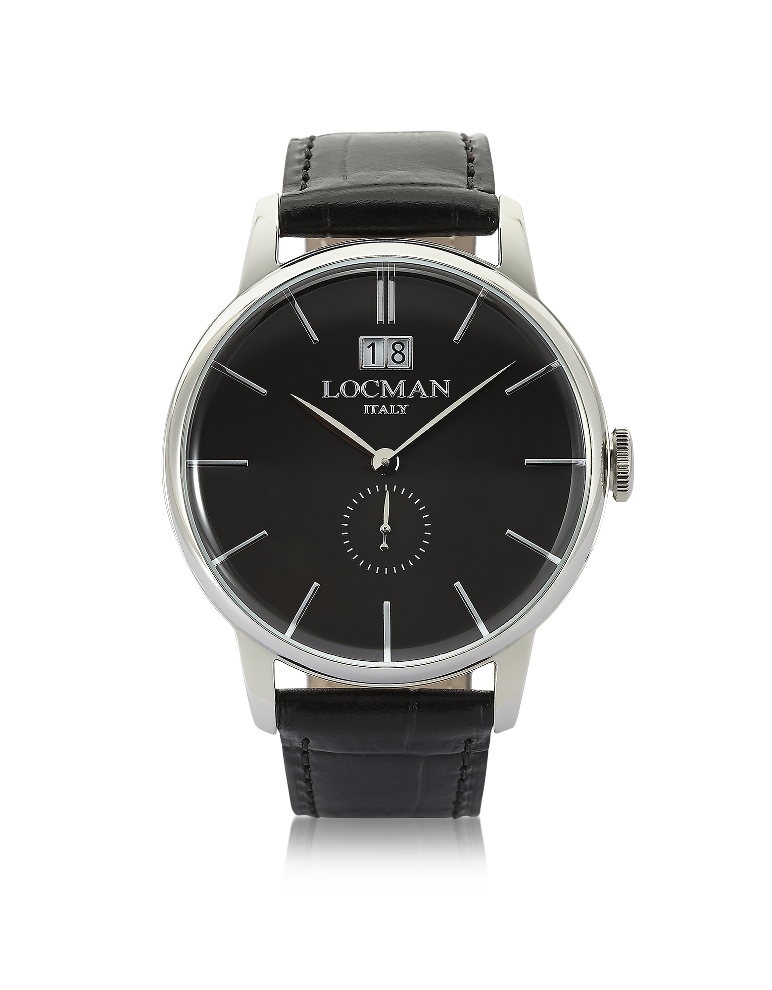 Locman Men's Watches, 1960 Silver Stainless Steel Men's Watch w/ Black Croco Embossed Leather Strap