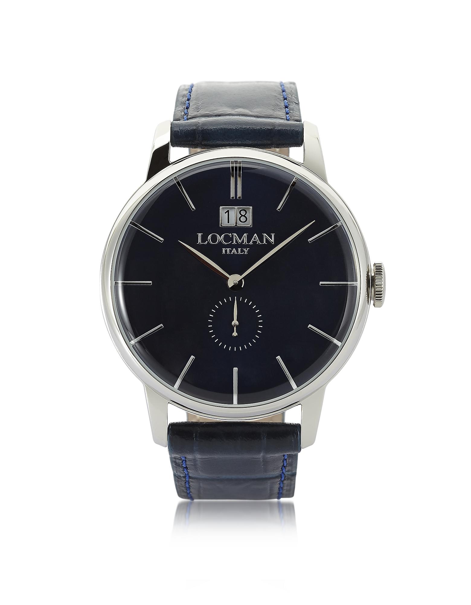 1960 - Серебристые Мужские Часы из Нержавеющей Стали на Темно-синем Ремешке из Кожи под Крокодиловую