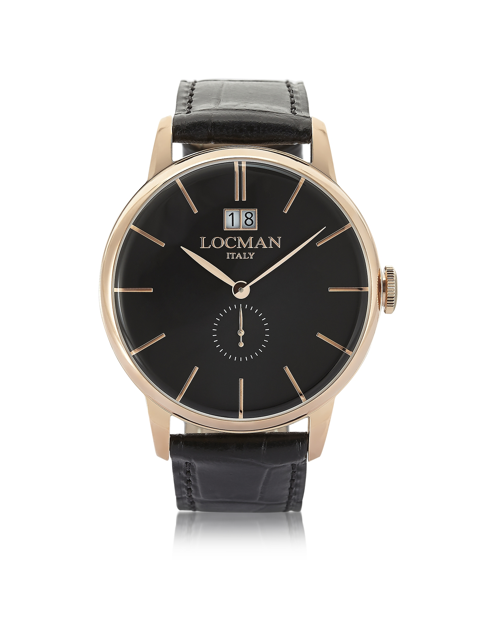 Locman Men's Watches, 1960 Rose Gold PVD Stainless Steel Men's Watch w/Black Croco Embossed Leather