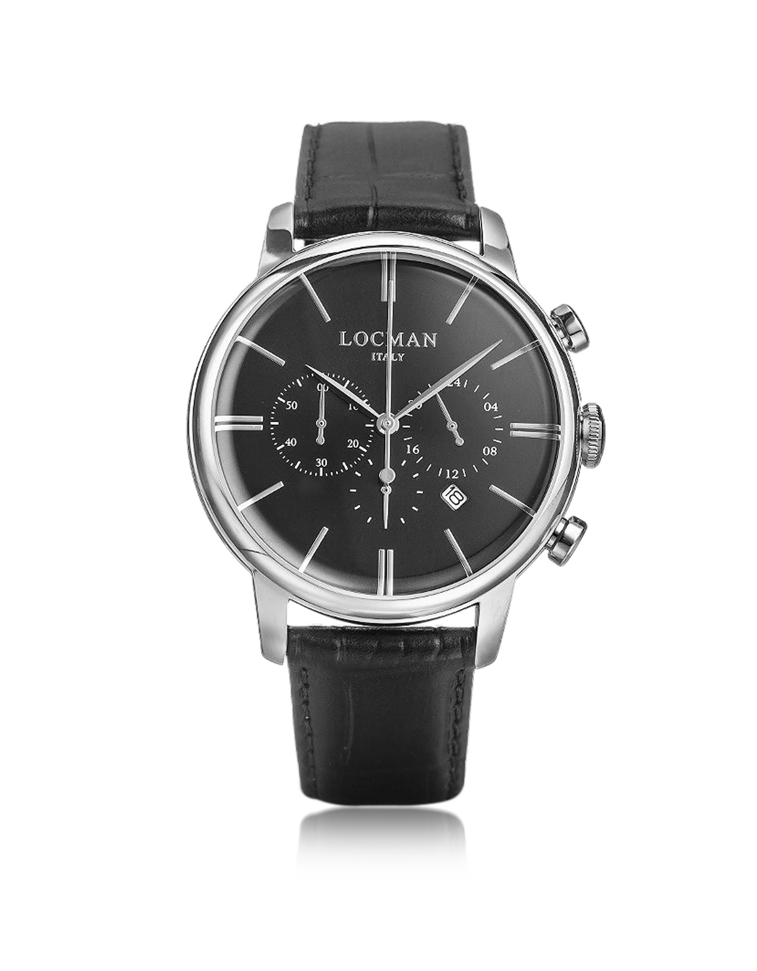 Image of 1960 Silver Stainless Steel Men's Chronograph Watch w/Black Croco Embossed Leather Strap