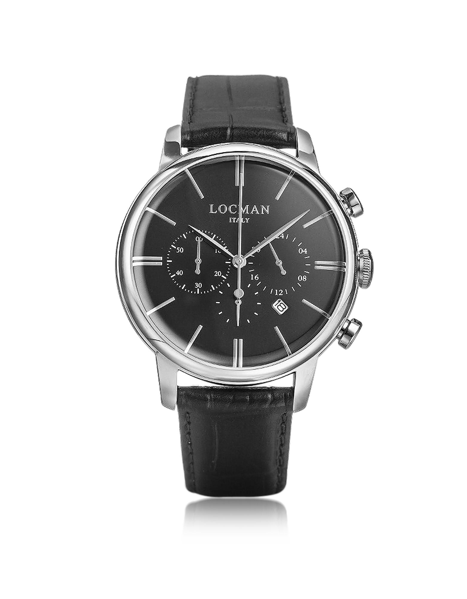 1960 - Серебристые Мужские Часы Хронограф из Нержавеющей Стали с Черным Ремешком под Крокодиловую Кожу