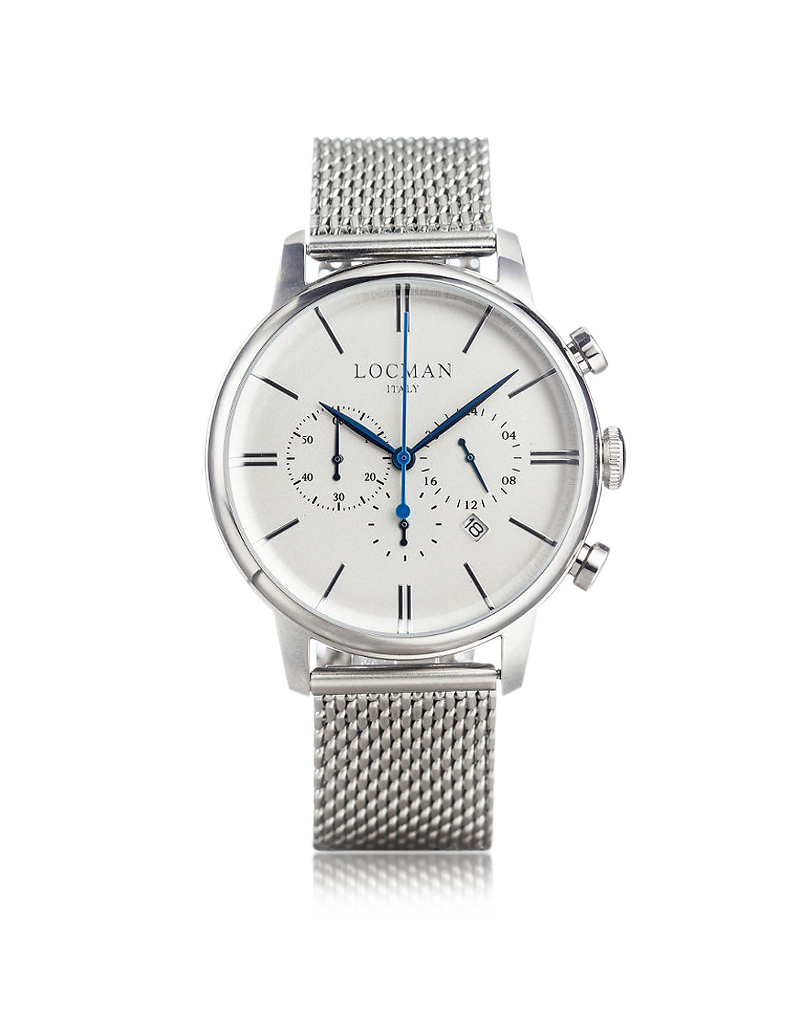 1960 - Серебристые Мужские Часы Хронограф из Нержавеющей Стали