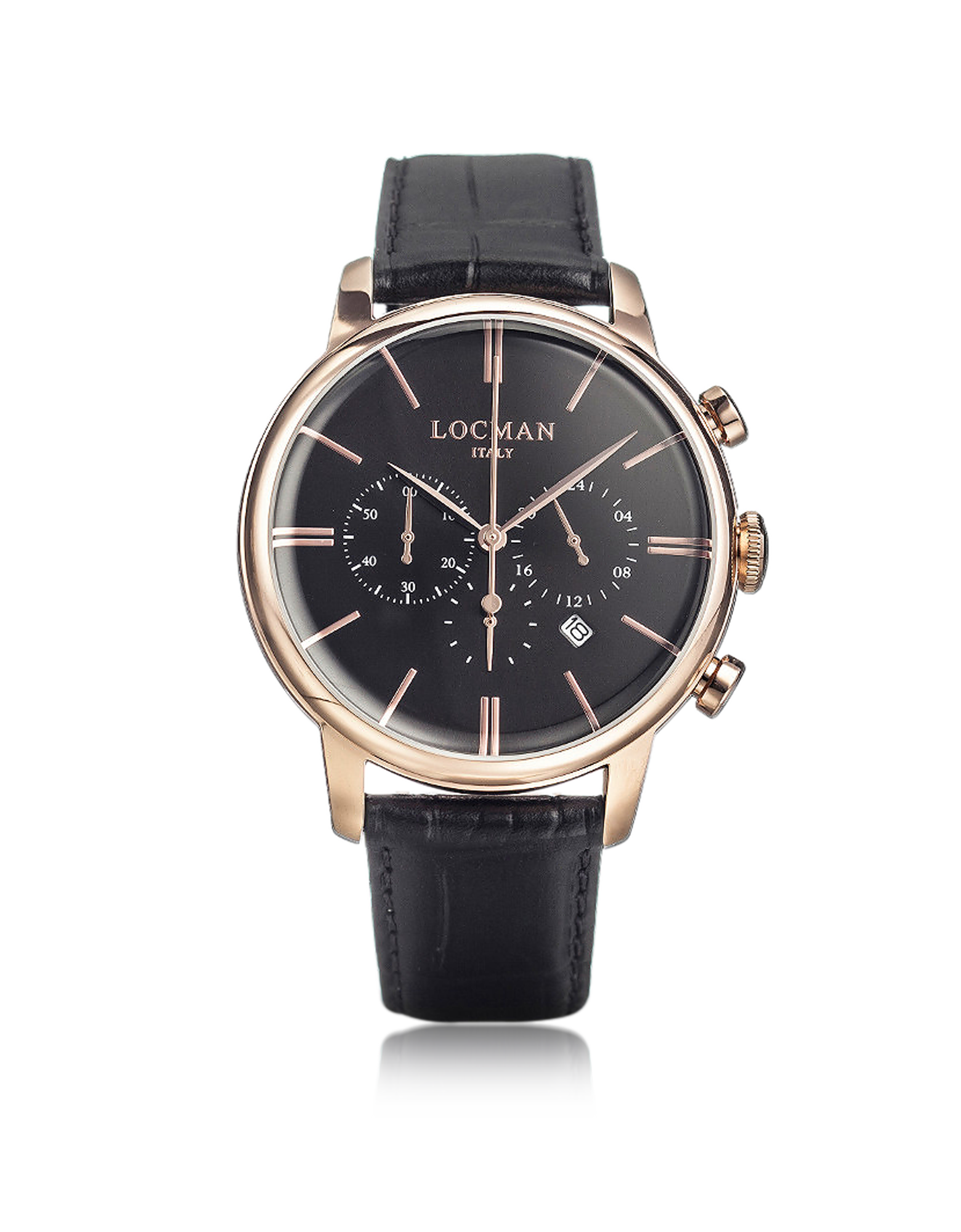 Image of 1960 Rose Gold PVD Stainlees Steel Men's Chronograph Watch w/Black Strap