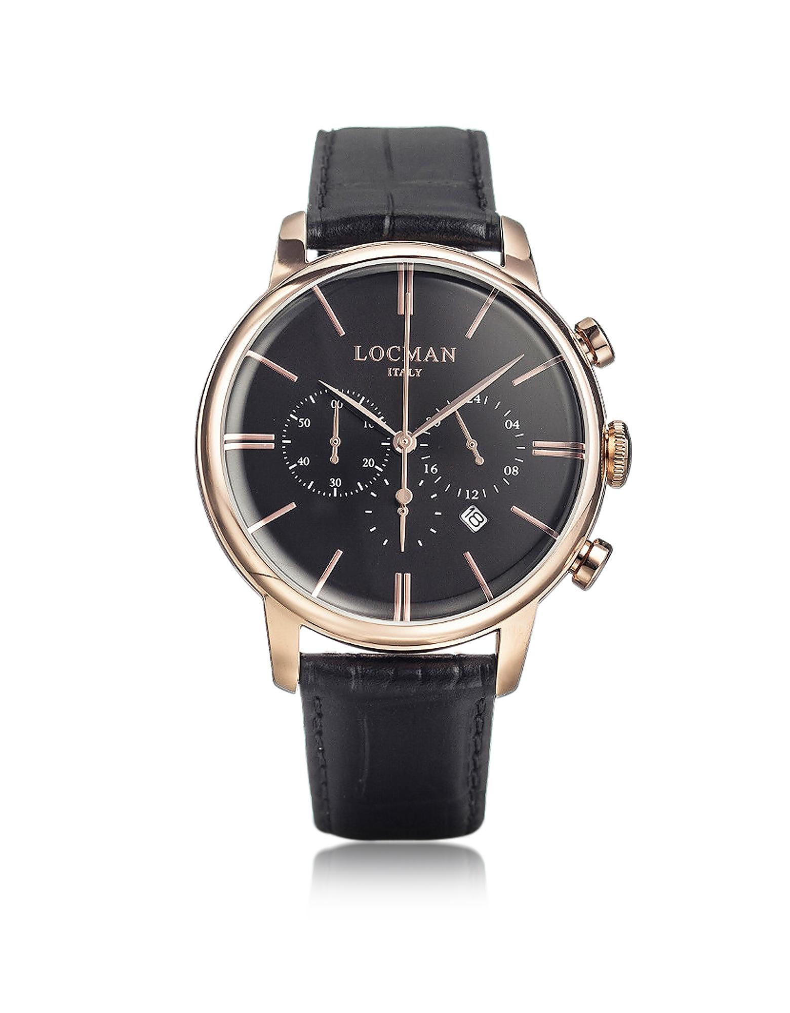 Locman Men's Watches, 1960 Rose Gold PVD Stainlees Steel Men's Chronograph Watch w/Black Strap