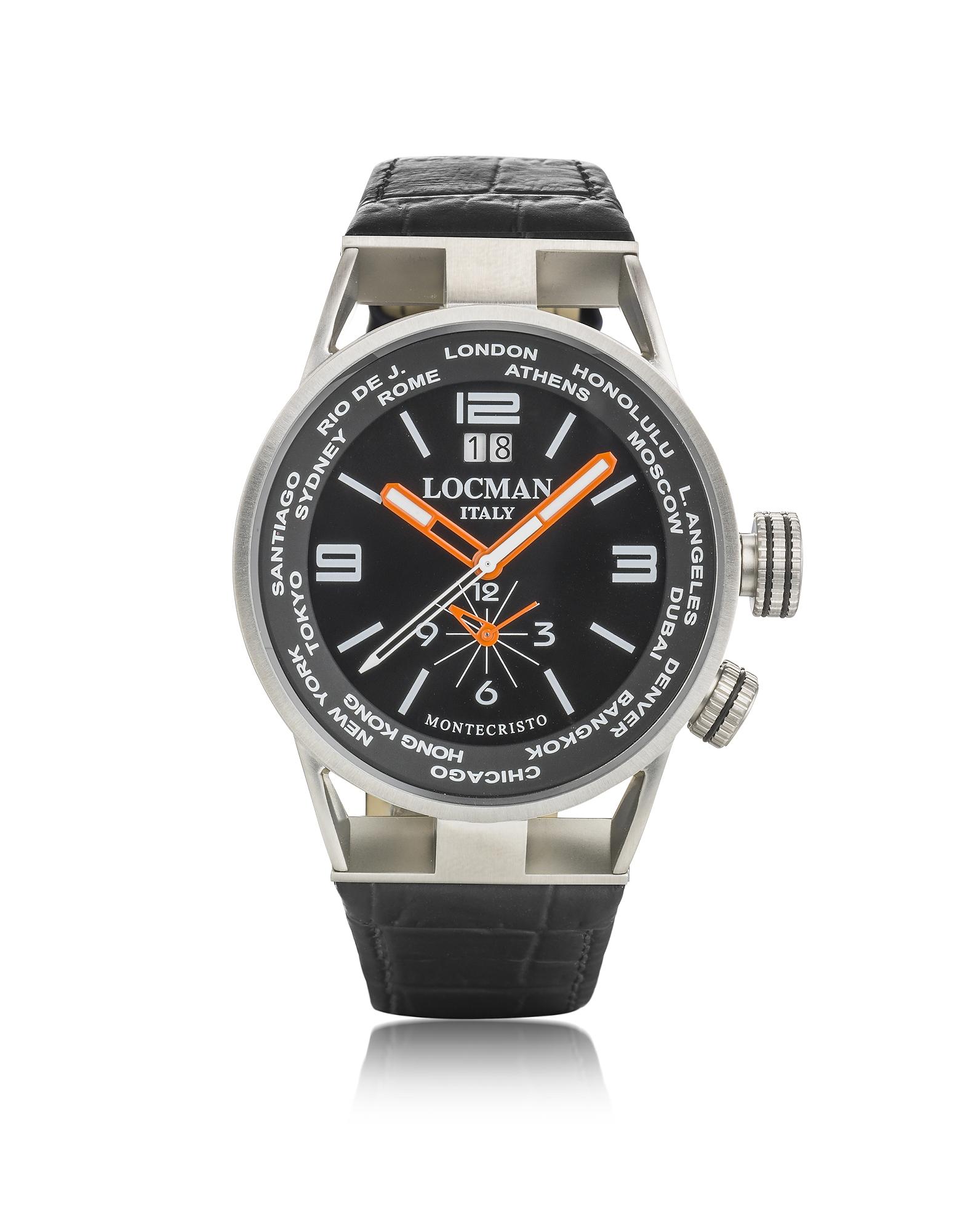 Locman Men's Watches, Montecristo Stainless Steel & Titanium Dual Men's Watch w/Leather Strap