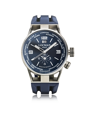 Locman - Montecristo Blue Stainless Steela & Titanium Dual Time Men's Watch